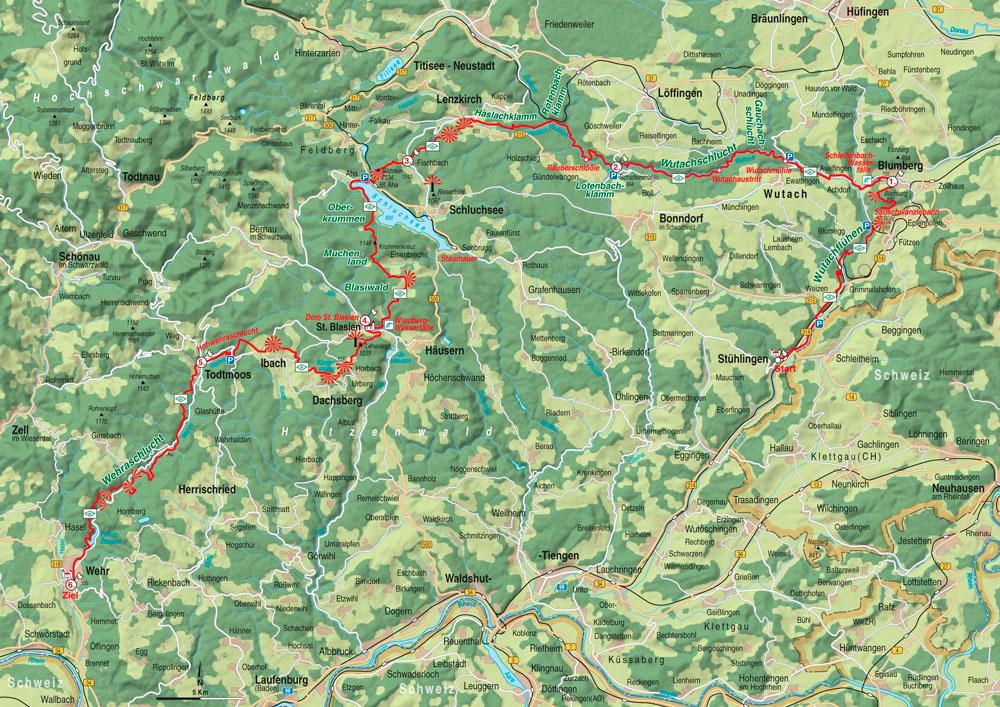 Karte Schwarzwald Zum Ausdrucken.Schluchtensteig überblick